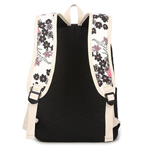 Wanyang Ladies Daypack Schoolbags Borsa A Tracolla Borsa Borsa Per La Scuola Viaggi Sport Set / 3 Pezzi Zaino Cartelle Nero