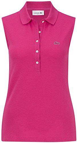 Lacoste PF8471 Klassisches Damen Polo, Polohemd, Polo-Shirt ohne Arm, Ärmellos, Regular Fit, für Freizeit und Sport, 100% Baumwolle Pink (Stacy Chine PH9), EU 44 (Golf Bekleidung)