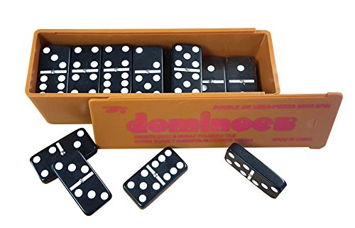Chabrias Ltd Dominoes- double six, plastic,white spots,spinners