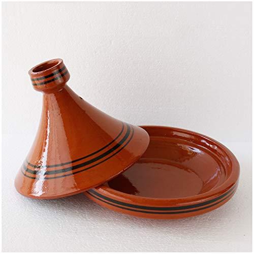 Casa Moro Tajine Ø 30 cm Marokkanische Tagine zum Kochen Berber Tontopf Handmade Tuareg für 4-5 Personen glasierter Gartopf aus Marrakesch | Terra Miel 30 cm