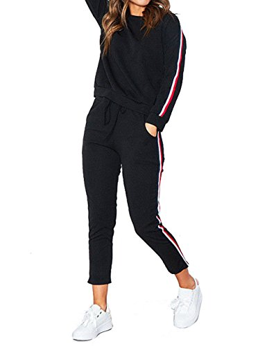 ISASSY Damen Anzug Freizeitanzug Hausanzug Fitness Yoga Hose Sportanzug Jogginganzug Langarm Pullover schwarz M(EU 38) (Langarm Trainingsanzug)