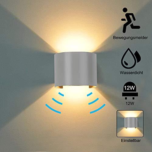 12W Wandleuchte Bewegungsmelder Aussen Warmes Licht Wasserdicht Verstellbare lampe, Bewegungsmelder LED Wandlampe Innen Wandleuchte Sensor für Garten/Flur/Weg,Grau [Energieklasse A+]