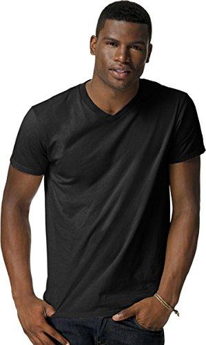 Hanes Mens Nano-T V-Neck T-Shirt_Black_Small Black