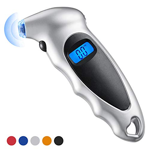 Haquno Digital Tyre Pressure Gauge 150 PSI 4 Settings for Car Truck Bicycle with Backlit LCD and Non-Slip Grip Tyre Pressure Checker, Silver