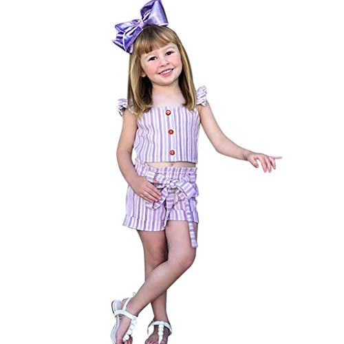 Säugling Strampler Toddler Ruffled Strap Striped Tops Bow Shorts 2PC Outfits Sets -