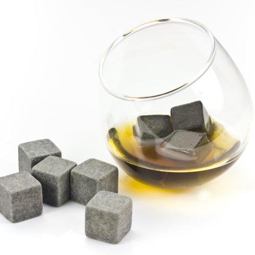 """Preisvergleich Produktbild 9er SET Whisky Steine, Whisky stones, Eiswürfel Kühlsteine aus natürlichem Speckstein mit Stoffbeutel, ideal für Getränke """"on the rocks"""""""