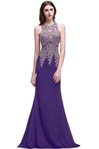 Damen Hochwertig Lang Ballkleid,Lang Abschlusskleid,Abendkleid,Lang Abendkleid Lila Abendkleid Gr.40