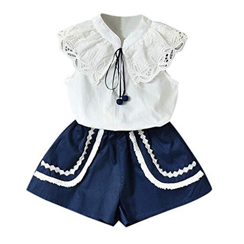 Baby Body Kinderkleidung Jungen Mädchen, YanHoo Kleinkind Kinder Baby Mädchen Outfits Kleidung Spitze T-Shirt Tops + Shorts Hosen Kragen Spitze Ärmelloses Zweiteilig 2-7 Jahre