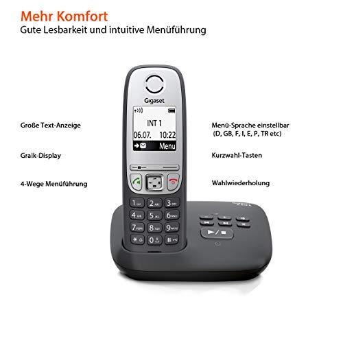 Gigaset A415A Telefon – Schnurlostelefon / Mobilteil mit Grafik Display – Dect-Telefon mit Anrufbeantworter / Freisprechfunktion – Analog Telefon – Schwarz - 3