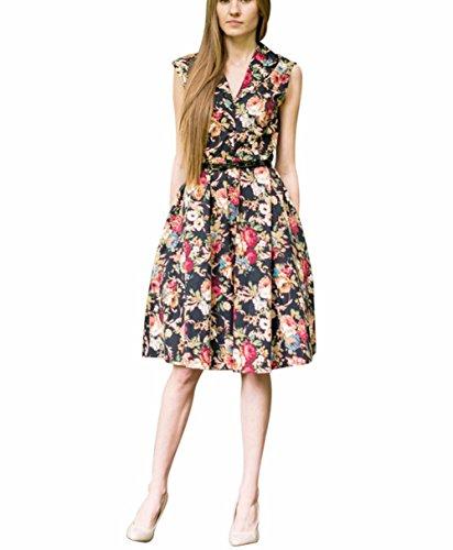 Possec Damen Kleider Vintage Baumwolle Flared Ärmellos Rose Blume Rock Kleid - 3