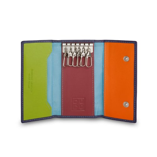 Portachiavi classico in pelle Multicolore a 6 ganci firmato DUDU Viola