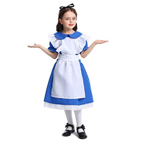 LOLANTA Kinder Mädchen Classic Alice Kostüm Halloween Maid Kostüm Outfit (10-12 Jahre)