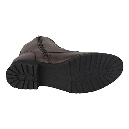 napoli-fashion Leicht Gefütterte Damen Schnürstiefeletten Freizeit Schuhe Jennika Dunkelbraun