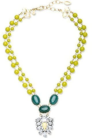 DAVID AUBREY Damen Halskette Doppelstrang Kristallanhänger