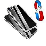 HP-eng Rundum Hülle iPhone 7/8 Case, Front/Rückseite 9H Glas Aluminium Rahmen Stark Magnet Tasche Stoßfest Robust Metall Schutzhülle für Apple iPhone 7/8 4,7