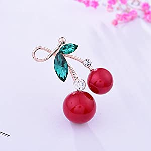 Huertuer Fruit Cherry Brosche Temperament Feminine Corsage Diamond Pin Kleidung Schal Button (Rot)