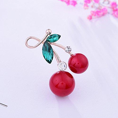 Home-cherry-kollektion (Huertuer Fruit Cherry Brosche Temperament Feminine Corsage Diamond Pin Kleidung Schal Button (Rot))