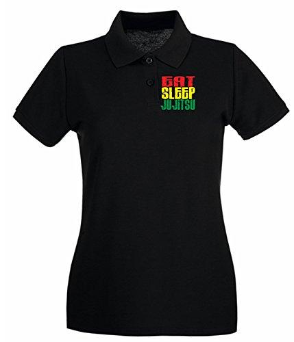 T-Shirtshock - Polo pour femme TAM0028 eat sleep ju jitsu white tshirt Noir