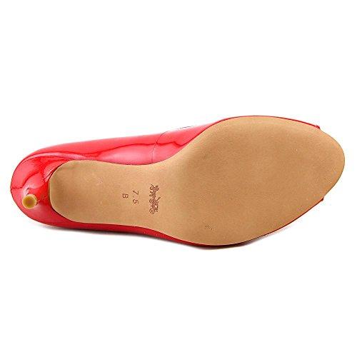 Toe Sapatos Delilah Stiletto Couro Vermelho Treinador Peep De PXaxn