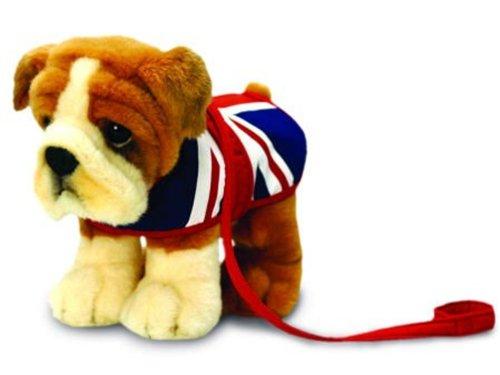lüsch Hund Bulldogge mit Union Jack Mantel, 30 cm (Bulldog Plüsch)