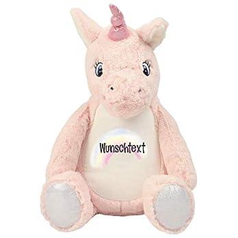 Einhorn Kuscheltier rosa mit Name Stofftier pink Kuscheleinhorn personalisiert mit Wunschtext