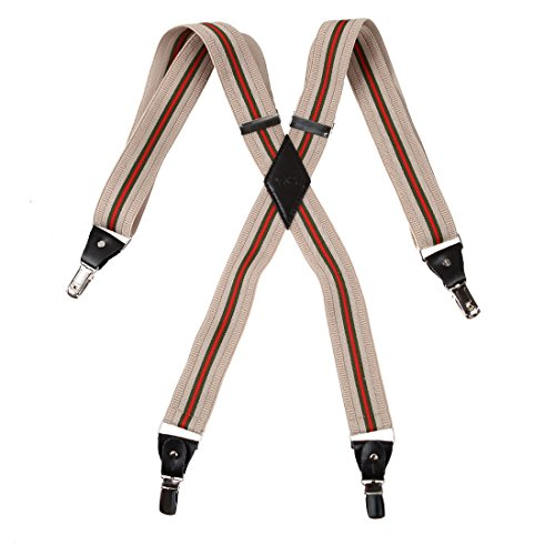 YFA010701 Antique White Stripes Leder Bracess Design Herren X-back Strapse mit extra Clips Von Y&G (White X-back-hosenträger)