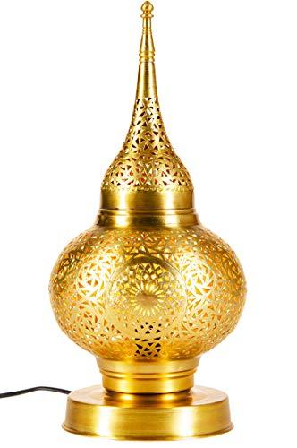 Orientalische Messing Tischlampe Lampe Hayati 45cm in Gold   Marokkanische Tischlampen klein Lampenschirm goldfarben   kleine Nachttischlampe modern für Vintage Retro & Landhaus Stil Design