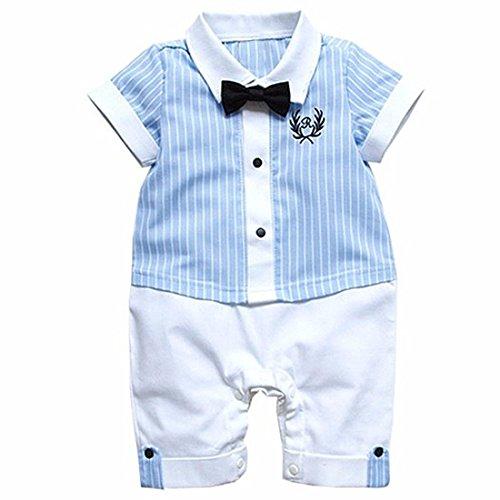 Tiaobug Baby Strampler für Jungen Smoking Gentleman Strampler Sommer Kleidung Anzug mit Fliege für Kleinkinder Blau + Weiß 12-18 (Anzüge Für Weiße Kleinkinder)