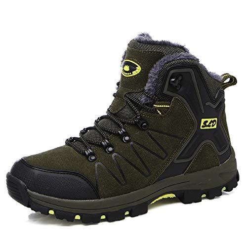 TQGOLD Scarpe da Trekking Uomo Donna Impermeabile Scarpe da Escursionismo Arrampicata Scarpe da Neve Calde Comodo Stivali in Pelle Invernali (41 EU,Verde)