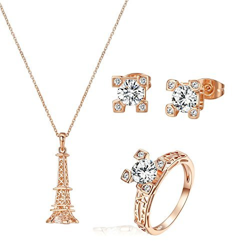 L'oro Yoursfs 18K Rosa ha placcato Cubic Zirconia CZ Torre Eiffel collana Wedding, anello e regolano l'orecchino