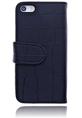 Premium Book Case Handy-Tasche für das Apple iPhone SE / 5 / 5S Flip Cover Case Schutz-Hülle mit Kartenfächer in weiß croco schwarz / black