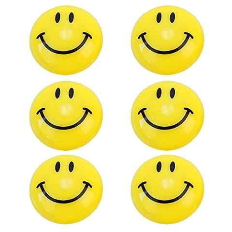 6Pcs Cute Yellow Cartoon Smile Face Round Shape Refrigerator Fridge Magnets Toys