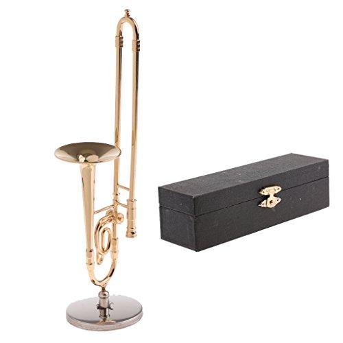 MagiDeal 1/6 Miniatur Musikinstrument Modell mit Box & Ständer Für 12'' Aktionfiguren Puppe - Posaune