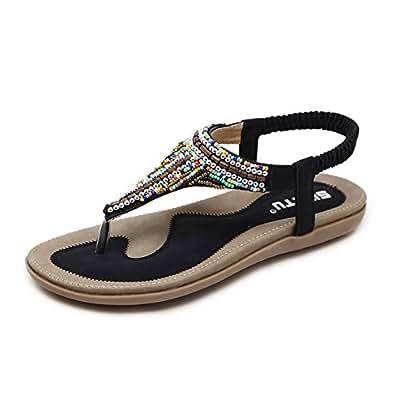 Minetom Damen Sommer Böhmische Stil T-Strap Sandalen Modisch Perlen Peep Toe Flip Flop Flache Schuhe Große Größe Sommerschuhe Strandschuhe Flats Aprikose EU 35 tPLP2jzII