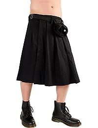 Black Pistol Hombre Scotty Kilt–Cuadros Escoceses Short Kilt Denim