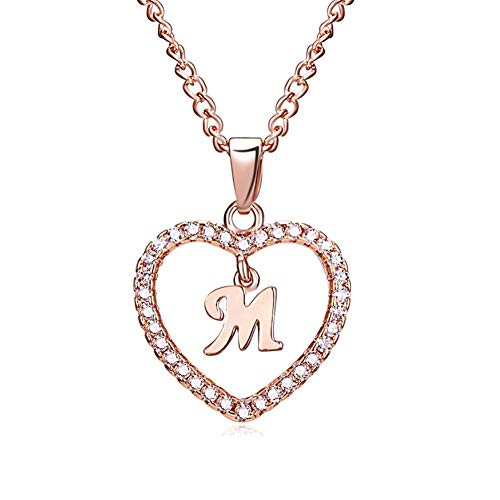 ff58c9b307d8 Hosaire 1X Necklace Fashion Lady Elegant 26 Letters Rhinestones Love Cutout  Letter Pendant Necklace Women s Jewelry