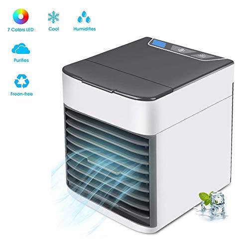 Persönliche tragbare Mini-Luftkühler, 3 Lüftergeschwindigkeiten 7 Farben LED-Licht, 3 in 1 USB Leise Kleine Klimaanlage Luftbefeuchter Luftreiniger für Wohnheim Schlafzimmer Zimmer Auto Büro