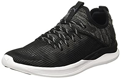 65860b5068d Puma Men s Ignite Flash Evoknit Stripped Black-Quiet Shade Sneakers ...