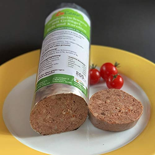 LuCano 12 x 800 gr Original Hundewurst | Hunde Fleischwurst mit Geflügel Reis + Karotten
