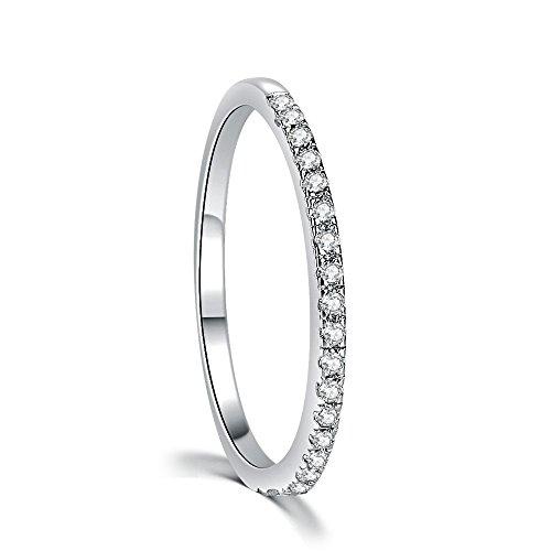 Damen Ring Band 925 Sterling Silber Weiß Zirkonia (47 (15.0))