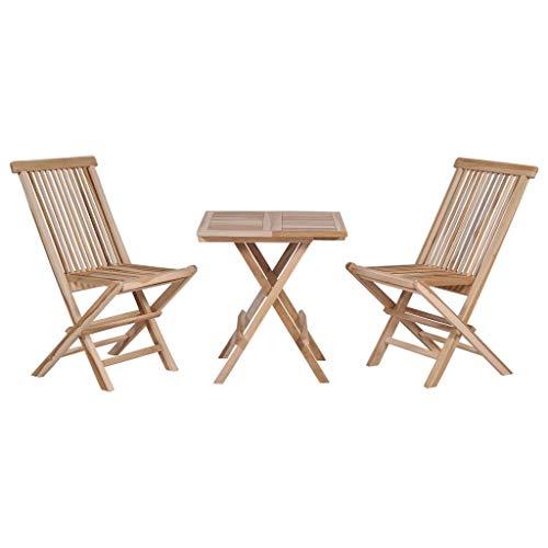 Festnight- Table Bistro avec 2 chaises Exterieur Table et chaises Pliable Jardin Salon de Jardin 3 pièces pour Balcon, Terasse en Teck Massif Marron