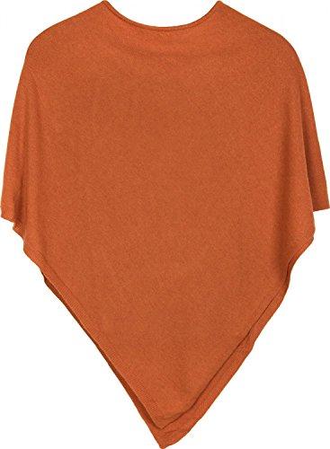 styleBREAKER weicher Feinstrick Poncho in Unifarben, Rundhals, Damen 08010042, Farbe:Orange