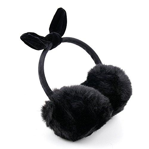 DURAGADGET Flauschige Kopfhörer in Schwarz. Für Kinder Feiern Fasching. Mit weichen Ohrmuscheln. Für Sony Xperia L1   XZs   XZ (Premium)   XA1 + XA (Ultra)   Z5 (Premium/Compact) Smartphone