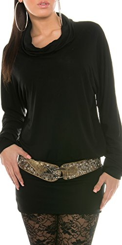 Pull manches longues et col roulé pour femme, taille unique et de nombreuses couleurs tendance (36–40) Noir - Noir
