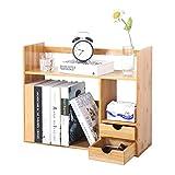 soges Bücherregal mit 2 Schubladen, Bambus Standregal Aktenregal Aufbewahrungsregal Schreibtisch Organizer für Zuhause und Büro 48 x 19,5 x 46 cm, KS-HSJ-03