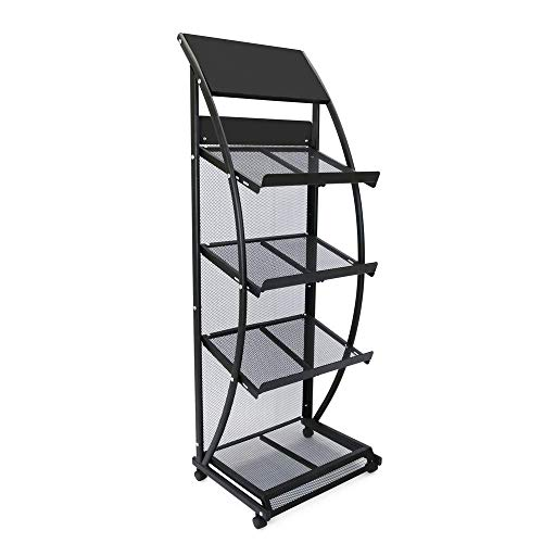 PrimeMatik - Prospektständer und Zeitschriftenständer mit Räder und 4 Halter