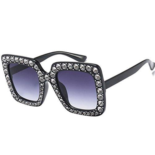 AchidistviQ Fashion Classic quadratisch Rahmen glänzend Strass UV400Sonnenbrille Frauen Eyewear grau