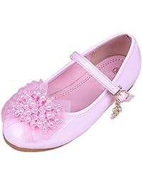Zhuhaitf Alta calidad Fashion Kids Girls Sweet Beads Floral Breathable Non-slip Princess Flat Single Shoes 2 Colors