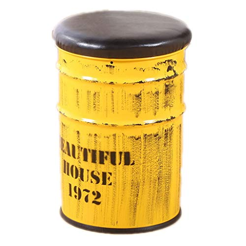 QJFJD Hocker mit Stauraum, Metalloptik, Sitzhocker, Sitzhocker, Sitzhocker, Retro-Lackierung, Barhocker, Stauraum, Fußstütze Yellow 30 * 45cm -