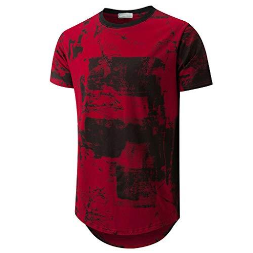 BHYDRY Herrenmode Kurzarm O-Ausschnitt Spleißen Large Size Casual Top Bluse Shirts